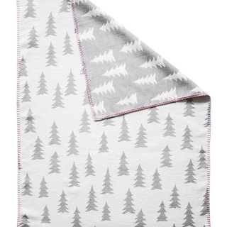 Forest organic cotton brush blanket gray + powder edge - GRAN WOVEN CHILD BLANKET (grey/pink