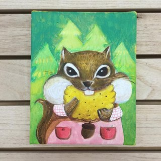 "Small frame of the original painting ""Squirrel chick"" pocket biscuits 