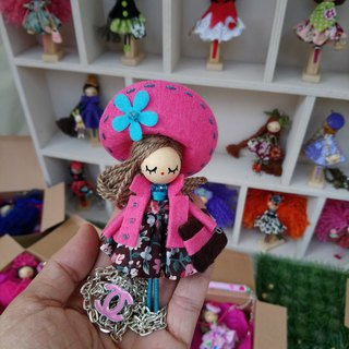 Brooch doll and necklace