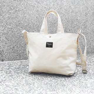 Monochrome A4 three-use tote bag - white (portable shoulder shoulder back tutorial / book / messenger bag)