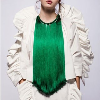 16 spring and summer sample sale 16SS green hand-fringed coat