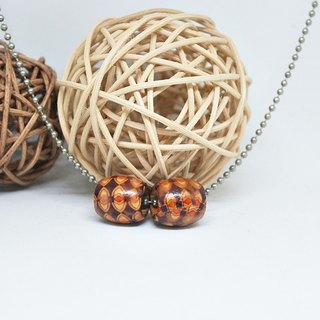 Alloy Necklace <Color Wooden Barrel> => Limited X1
