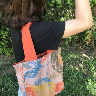 Hand-printed double-sided soft cloth bag