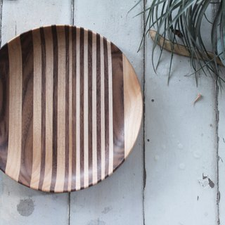 Hand-made wooden dinner plate / walnut, maple, alder