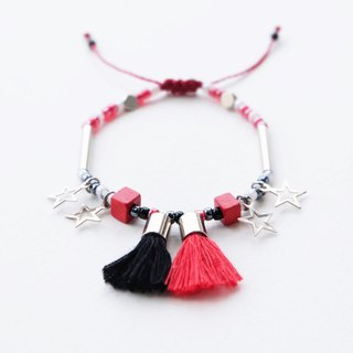 Red black tassel star string bracelet