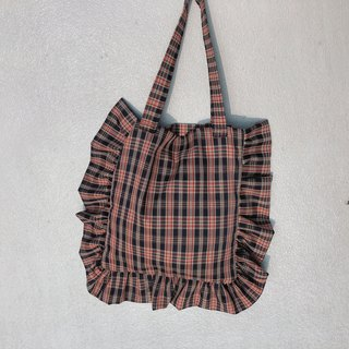 Red brown plaid lace bag