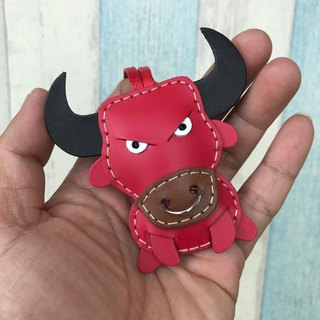 Handmade leather red cute bullfighting handmade sewn leather charm small size