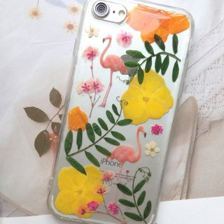 Pressed flowers phone case, Fit for iPhone 7,iPhone 8, Flamingos