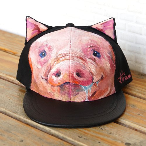 Hand painted cat ear cap <mouth greedy pig>