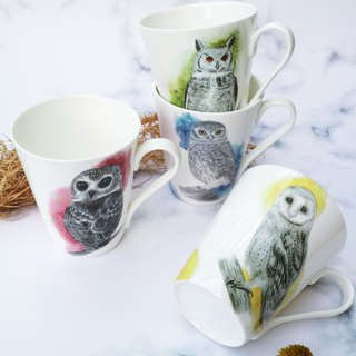 Owl V-shaped mug bone china / birthday gift / series cup / forest animals