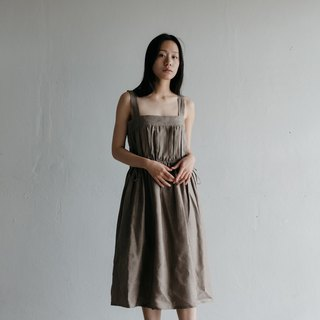 Line Overalls Dress in Khaki Chambray