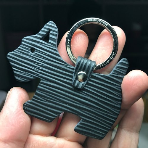{Leatherprince handmade leather} Taiwan MIT black cute schnauke silhouette version leather key ring / Schnauzer Silhouette epi leather keychain in black (Small size /