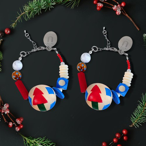 Puppets Christmas limited Christmas tree boudoir Christmas (Christmas tree x2) wood bracelet small section wood beads + color stone chain