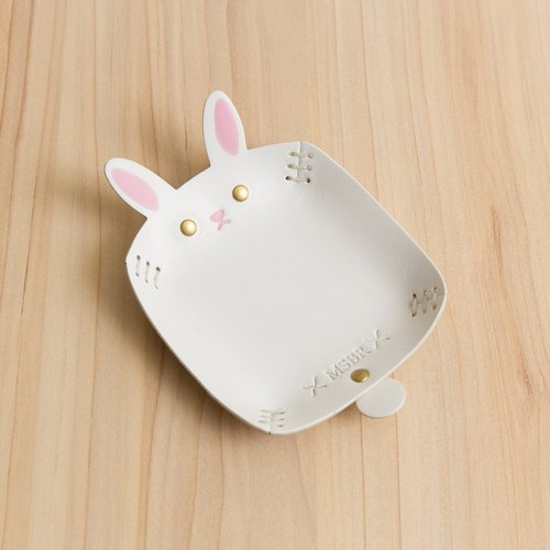 Animal Series - Hand-painted leather small cap / jewelry storage / (white rabbit)