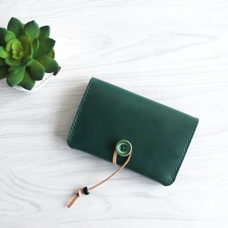 Dark green hand-stitched leather business card package card package card package button credit card package customization