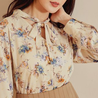 MIT Temperament Floral Bow Tied Top (R6028A)