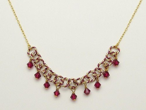 Swarovski 9 Necklace (Burgundy)