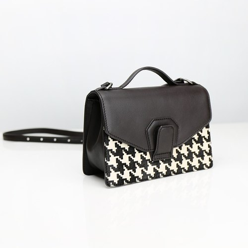HARMONICA Organ mini shoulder bag - roasted coffee x Houndstooth