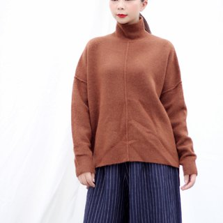 [Spot] high collar caramel wool sweater
