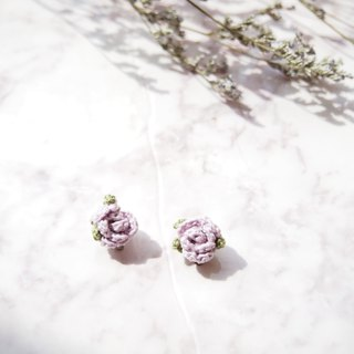 Elegant hand-woven three-dimensional light pink rose earrings