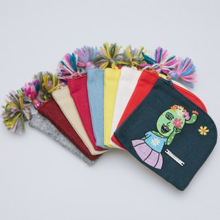 Cotton Canvas Embroidery Coins Bag - Let's Enjoy the Flower Sea 2