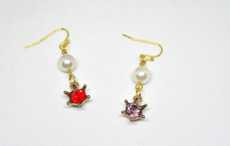 Red and pink alloy * * <color style> _ hook earrings ➪ Limited X1