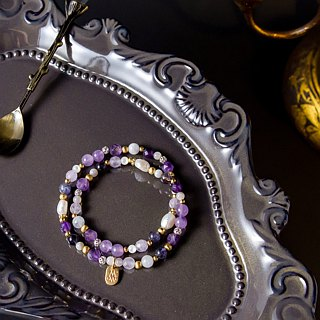 <Slow temperature natural stone>C1240 pearl purple jade top wheel double circle bracelet // Violet orchid language