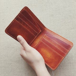 Multi-card leather wallet short clip Italian vegetable tanned leather red brown dyeing pure hand-designed customized