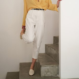 White must enter the perfect version of the turnip pants tapered trousers vertical spring and summer profile suit pants Slim leg