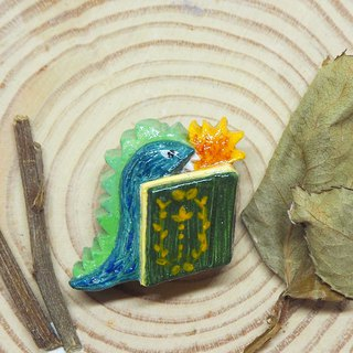 T-rex and book handmade brooch