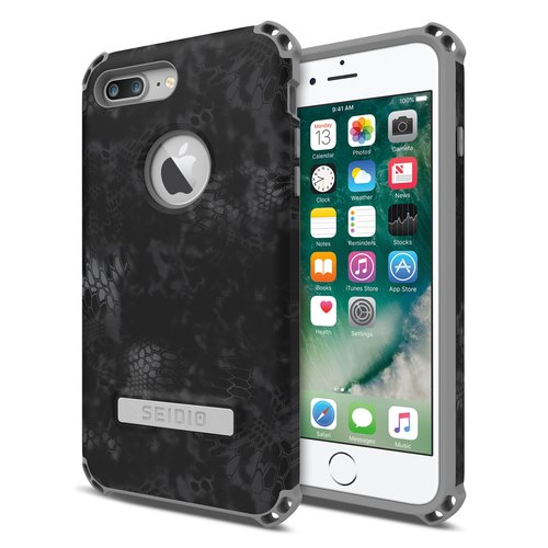 Military Class Quad Corner Crash Case / Case for iPhone 7 Plus / 8 Plus - Night Black Python - DILEX ™ x KRYPTEK Series