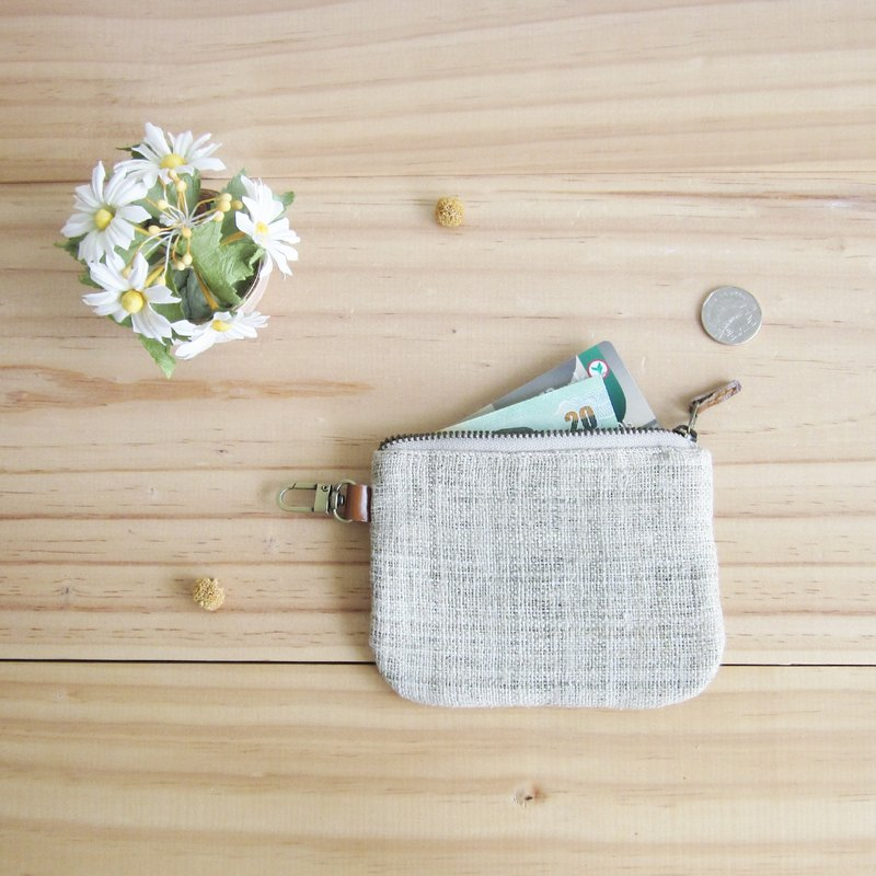 Coin Purses  with Key Chain Hand-woven Hemp Natural Color