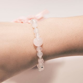 In Love Bracelet Rose Quartz White Agate Burnished Rose shaped Beads