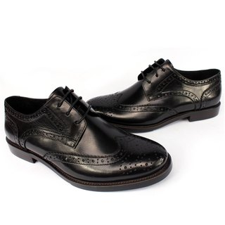 Temple filial piety British classic leather carved Derby shoes black