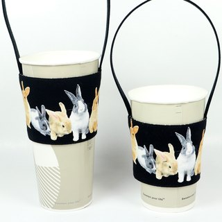 Drink Cup Set Green Cup Set Bag - Rabbit Family (Black)