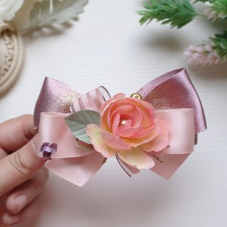 Pink Fabric Flower Ribbon Bow, Barrette Hair Clip HA0212