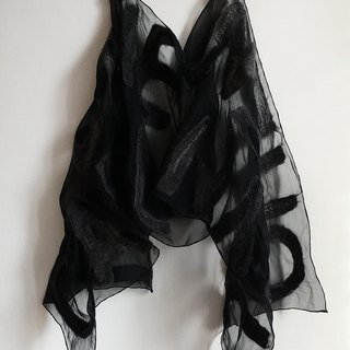 Black Silk Chiffon Scarf with Felted Letters Unique personalized gift for women