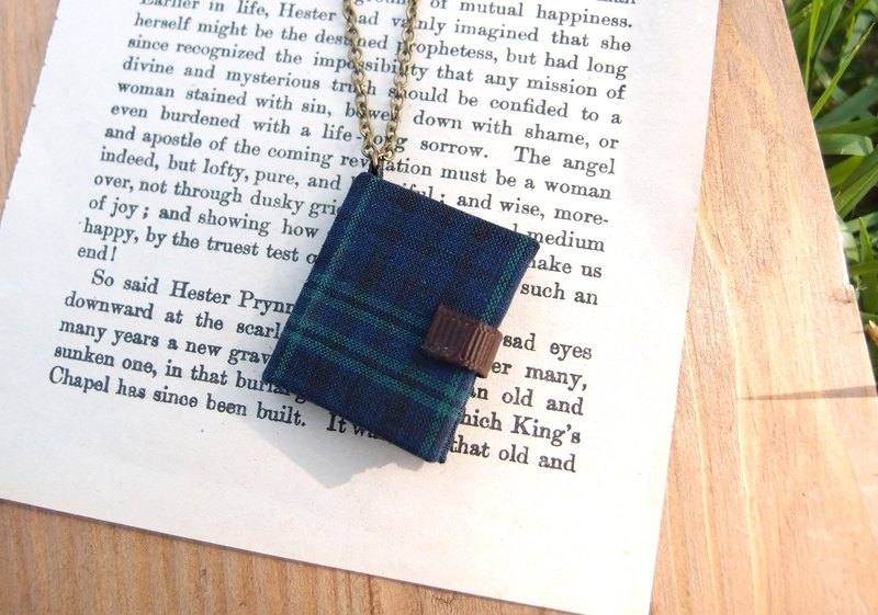 Mini Book Necklace| Blue and Green Check
