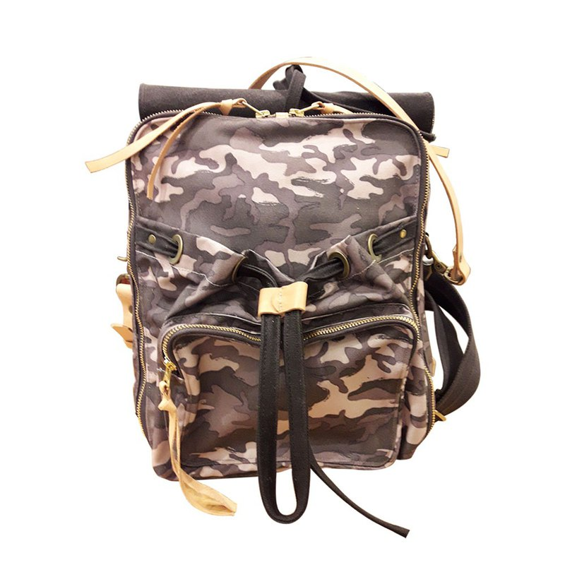Waxed Camo Backpack / Urban Camouflage Backpack / M / L / Camo Powder / Limited Edition