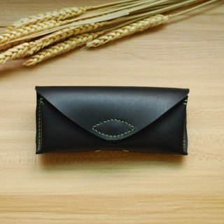 Neutral Spectacle Case Leather Hand Sewing (Black)