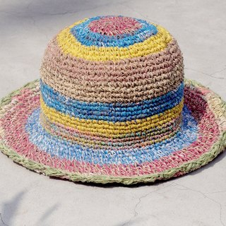 Limited edition handmade weave linen hat / weaving hat / fisherman hat / sun hat / straw hat - blue coast colorful striped handmade hat