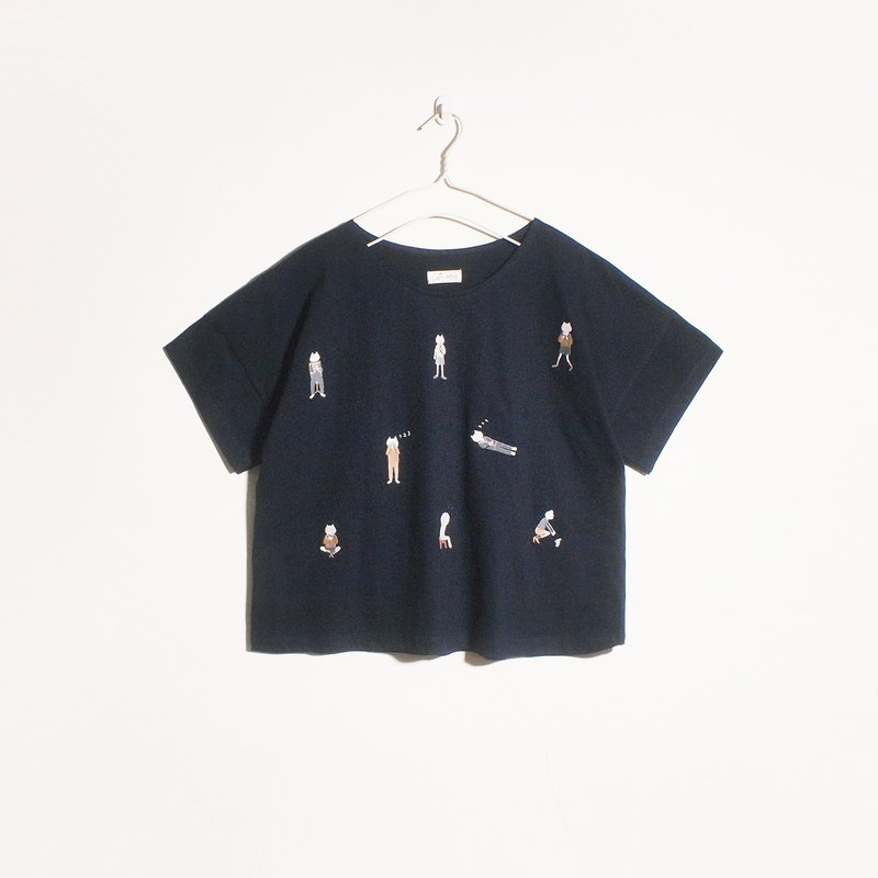 cat boy t-shirt : navy