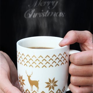 Christmas mug - Gold Deer Available in 5 designs