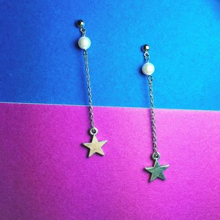 Silver Star ◆ can change the clip-on Earrings / one pair / silver alloy crystal pearl earrings / gift custom designs