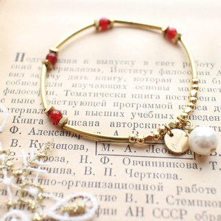 Red agate shell beads  brass handmade bracelet