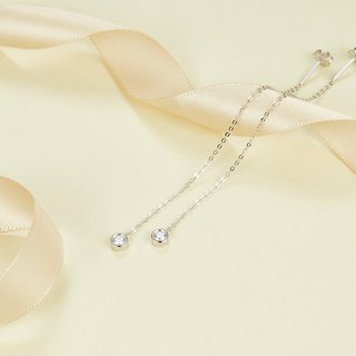 【PurpleMay Jewellery】18k White Gold Bezel Single Diamond Drop Earring E012