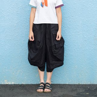 Maverick Village style versatile cotton and linen trousers skirt [Kangaroo II - ink black] J-22 Limited