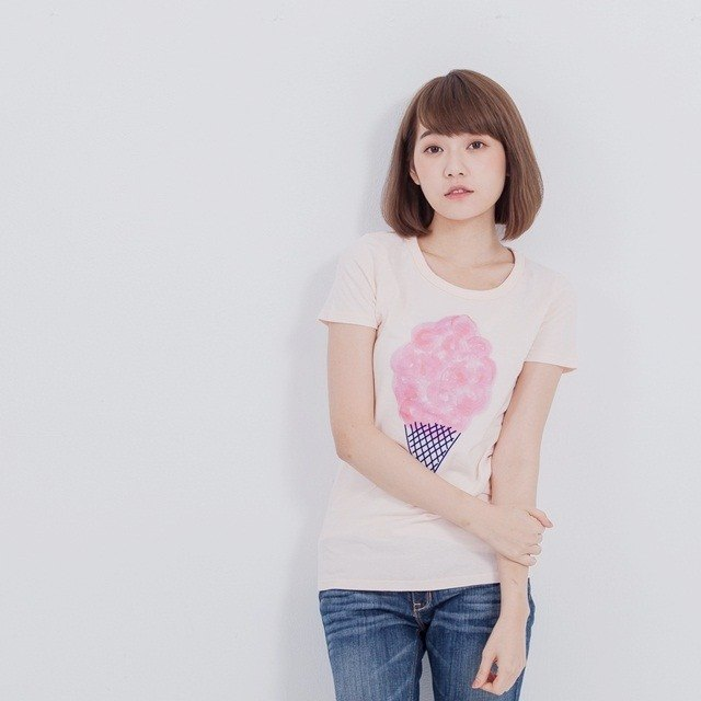 cotton candy & ice cream peach cotton T-shirt Women