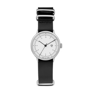 Harold Mini Silver White Dial Black Military Leather Watch