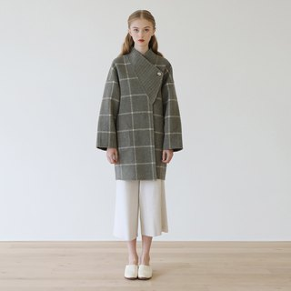 KOOW and wind slung wool coat plaid stripes double-sided long profile